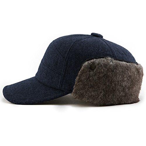 SIGGI Warme Baseballkappe Wolle schwazblaue Winter Ohrschutz Baseballcap Schirmmütze Für Herren