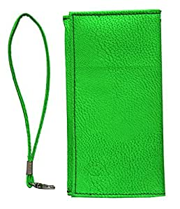 Jo Jo A5 G8 Leather Wallet Universal Pouch Cover Case For Alcatel One Touch Flash Plus Light Green