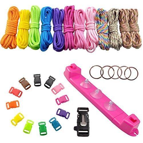 UCEC 12 Rainbow Couleur Paracord tressage Tissage DIY Craft Tool Kit avec Corde de Parachute Jig Bracelet Plastique Machine à Tisser, coloré, Boucles et Flint Fire Starter Grattoir Sifflet