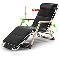 ZHIRONG Sun Loungers Balcony Chairs Fold Siesta Chair Summer Beach Chair Adjustable Armchair Portable Garden Chair Removable Cushion (Color : Black)