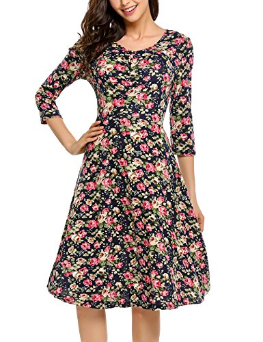 Zeagoo Damen Sommerkleider Jerseykleid Wickelkleid Vintage Blumen Kleid V-Ausschnitt Kurzarm Knielang (B)Blau