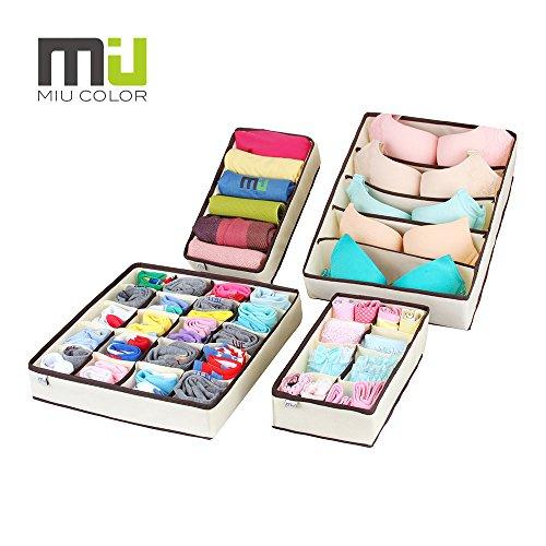 3ybird-miu-color-organizadores-del-armario-para-ropa-interior-4-cajas-divisoras-color-crema-y-marron