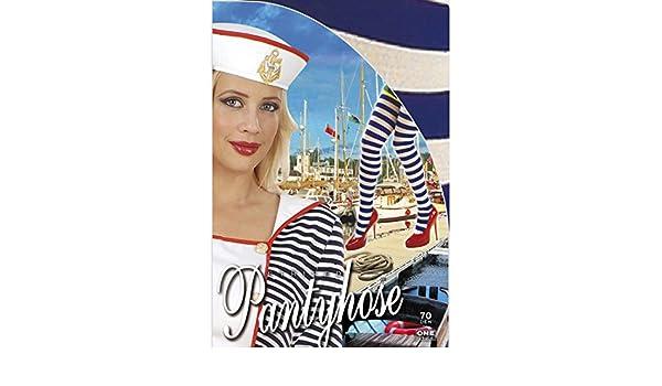 Matrosin Damen M-L 38 bis 44 Strumpfhose blau-weiß Marine Nylon Damenstrumpfhose