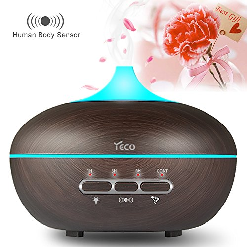 Essential Oil Diffuser, YECO Upgrade Ultrasonic Aromatherapy Aroma Diffuser Humidifier (Human Body Sensing, Up to 10H Use, Adjustable Cool Mist, 15 Color Lights Effects, Waterless or Rollover Auto-Off, Whisper-Quiet ) - Best Gifts for Her
