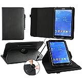 Emartbuy Wolder miTab Pro Colours 7 Pulgada Tableta PC Universal ( 7 - 8 Pulgada ) Acolchado Diseño Negro 360 Grados Giratorio Caso Cubrir Cover + Negro Lápiz Óptico
