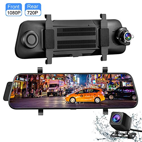 Dashcam, Aonerex Touchscreen Autokamera mit Rückfahrkamera Spiegel Dual Lens 9,66