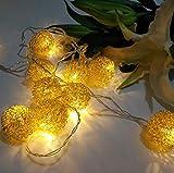 20er LED Kugeln Lichterkette OASMU silberne Kugeln batteriebetrieben 3M Ball Lights für Weihnachten, Halloween, Balkon, Außen Deko, Innen, Hochzeit, Party