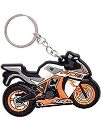 GCT KTM RC8 Logo Synthetic / Rubber Bike Keychain / Keyring / Key Ring / Key Chain (Orange/White/Black)