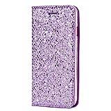 SainCat Custodia Galaxy S7, Custodia Ultra Slim Portafoglio Glitter Libro Bling Bling Shock-Absorption Pelle Flip Cover per Samsung Galaxy S7-Porpora