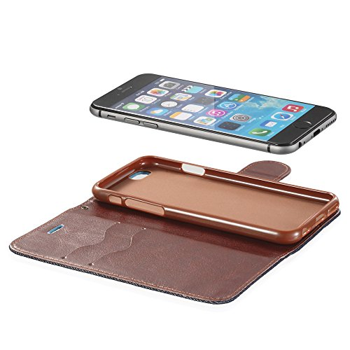 Fosmon Technology (caddy-jeans) Apple iPhone 6S/6étui–Denim Support multifonction portefeuille à rabat (emplacements pour cartes) Coque pour iPhone 3S/6–Fosmon emballage Denim Schwarz