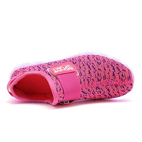 TULUO Kinder u. Jungen u. Mädchen LED-Schuhe USB-aufladenSneakers Kinder blinkende Trainers Pink