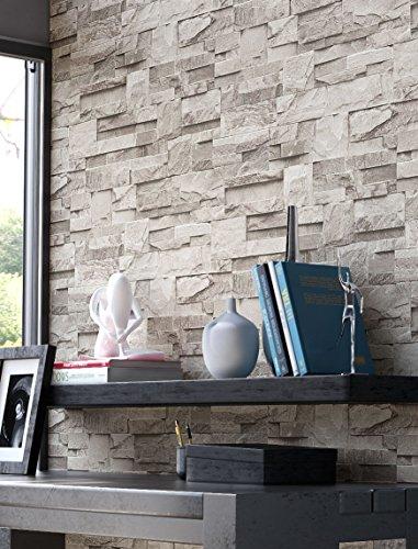 Steintapete in Weiß | schöne edle Tapete im Steinmauer Design ...