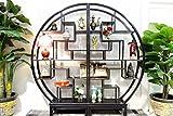 Deko - Regal, Rundregal in Schwarz linke und rechte HälfteChina Möbel DJ1595