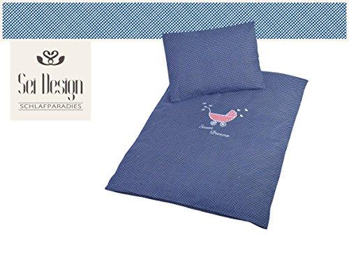 Sei Design Kinderbettwäsche 2 Tlg. Babybettwäsche passend zu Kinderwagenset: Bettdeckenbezug 60x80 + Kopfkissenbezug 30x40