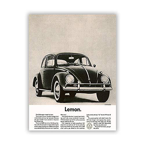 zgmtj NEUHEIT Modernes Auto Poster und Leinwanddruck Gemälde für Studie Dekor schwarz und weiß und abstrakt Quadro Enfant Zitat Vintage