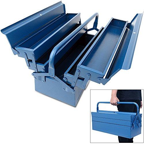 Deuba Werkzeugkoffer leer groß | Stahl | 5-teilig | - Werkzeugkasten Werkzeugbox Werkzeugkiste Werkzeug Montage Koffer - blau - 580x220x210mm