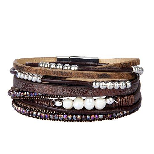 JOYMIAO Pulsera de Cuero Para Mujer Pulsera Trenzada Multicapa Boho Pearls Wrap Para Niñas (Marrón)