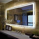 Miroir_60 * 80cm Anti-déflagrant de Salle de Bains Miroir + Miroir Lumineux LED + Audio Bluetooth Intelligent + Miroir de Salle de Bains Anti-buée sans Cadre + Multifonction