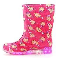 KushyShoo Flashing Wellies for Girls and Boys, Light Up Wellington Boots Size 5-13 1-2