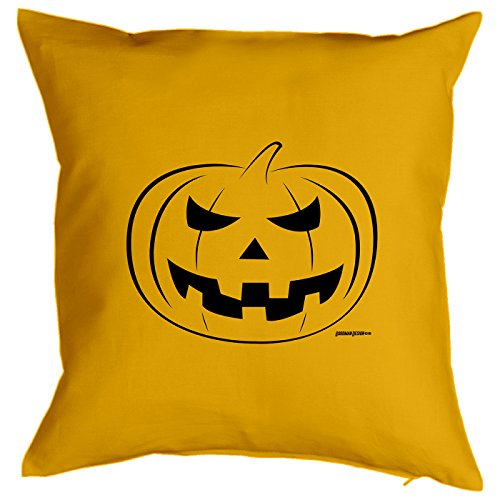Kissen mit Halloween Motiv: Kürbis - Halloween Deko für das Wohnzimmer - Couch - Sofa - gelb (Billig Kürbis Kostüme)