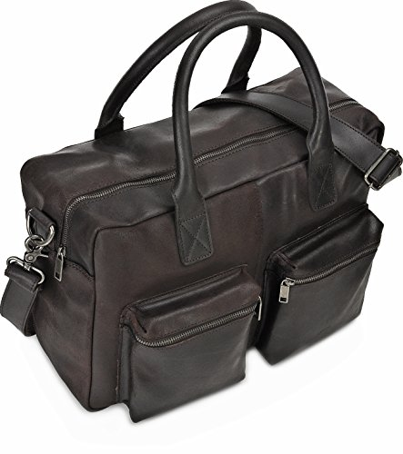 Leder Aktentasche Herren URBAN FOREST Cntmp Unisex Messengerbag Ledertasche Laptoptasche Damen Vintage Notebooktasche Herren Leder DIN-A4 Leder Braun Cognac 43x30x13cm (B x H x T) Dunkelbraun
