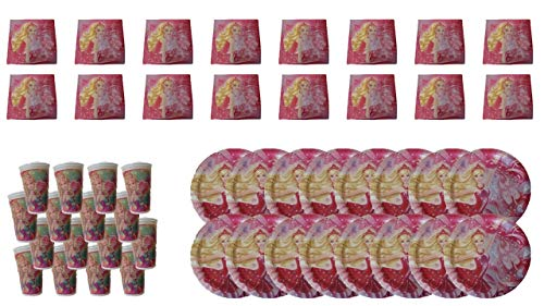 Barbie 2510; Einweg Pack; ideal für Partys und Geburtstage; bestehend aus 16 Teller 23 cm und 16 Gläser 250 ml und 16 Servietten; Produkte aus Pappe -