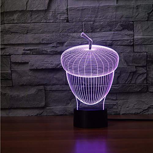Dwthh 7 Farben Atmosphäre 3D Led Nachtlicht Acorn Form Touch Button Pulp Eiche Tisch Leuchtende Schlafzimmer Form Decor Neuheit Kinder Spielzeug Geschenke -