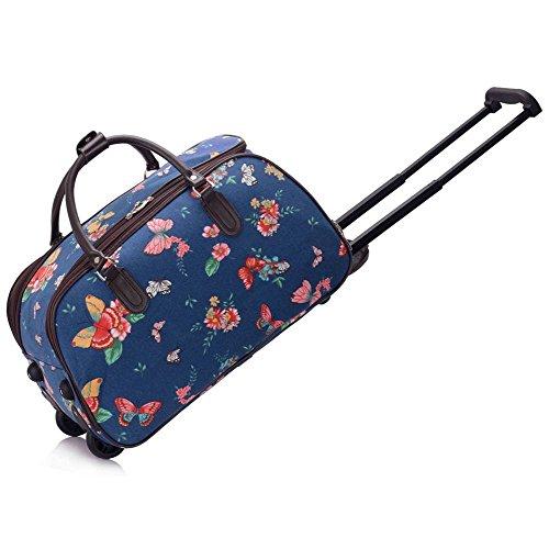 LeahWard® Damen Mittlere Größe Reisetasche Gepäck Reisetasche mit Rad Handgepäck UrlaubTaschen (D.blau Schmetterling)