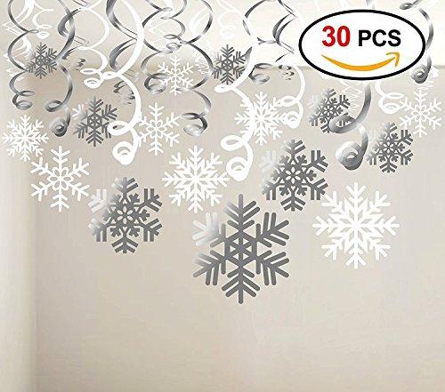 Konsait Weihnachts Hängedekoration (30pcs), Schneeflocken Folie Aufhängen Dekoration Ornamente girlande für Xmas Winter Wonderland Feiertag Party Decor Supplies, bereits - Ornament Christmas Schule