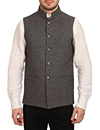 WINTAGE Men's Tweed Bandhgala Festive Nehru Jacket Waistcoat -7 Colors