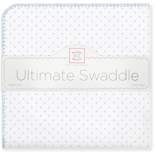 SwaddleDesigns Ultimate Receiving Blanket, Polka Dots, Pastel Blue (japan import)
