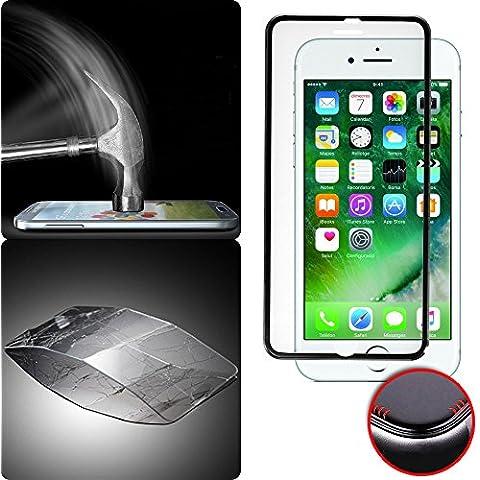 Donkeyphone - PROTECTOR DE PANTALLA COMPLETA DE CRISTAL CURVO 3D CON BORDE FILO BISELADO EFECTO ALUMINIO NEGRO PARA IPHONE 7 - VIDRIO TEMPLADO - CUBRE TODA LA PANTALLA - DUREZA 9H - ESQUINAS REDONDEADAS 3D - CON CAJA DURA Y ACCESORIOS