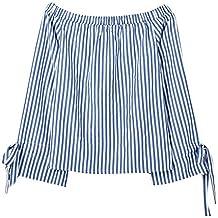 YanHoo Damas Camisa Sexy Camisa de Cuello de impresión a Rayas Camisa Elegante Chica de Fiesta