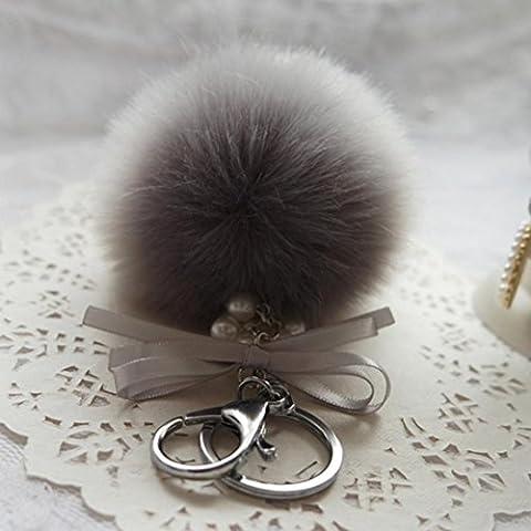 Porte-clés/Trousseau, Malloom clé de voiture en peluche de lapin boule de faux fourrure sac de porte-clés clé de voiture de pendentif anneau (Gris)