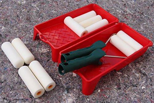Lackier Set: 10 x Schaumwalzen 11cm gerade + 2 x Farbroller Bügel und 2 x Farbwanne