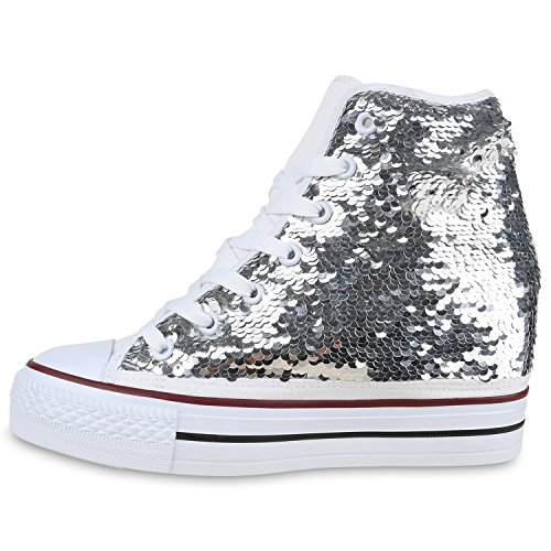 Damen Keilabsatz Silber High Sneaker Top Sneakers Wedges Pailletten UqAw4Ur