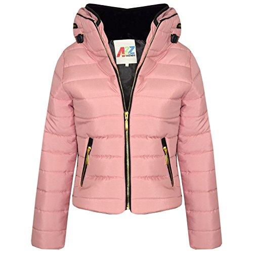 A2Z 4 Kids® Girls Jacket Kids Stylish Padded Dusty Pink Puffer Bubble Fur Collar - Puffer Jacket Dusty Pink 9-10