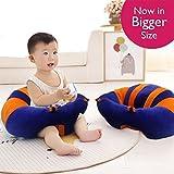 SANA Premium Quality Soft Plush Chair/seat For Baby Safety Sitting/Soft Soft Plush Chair For Kids Birthday (Blue & Orange)
