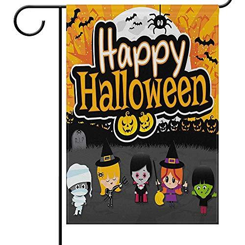 N/A Halloween Haus Flagge 12 * 18 e, gruselige Kostüme Cosplay Vampir Hexe Mumien lustige beängstigend Willkommen Herbst Herbst Urlaub im Freien Hof Garten (Beängstigend Kostüm Babys)