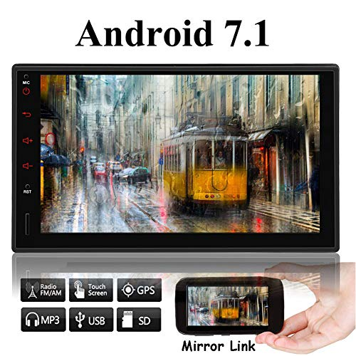 EINCAR 7-Zoll-IPS-Panel Android 7.1 Quad-Core 1GB + 16GB, Android Auto, Quick Charge Car Stereo Radio Doppel Din mit WiFi eingebautem Bluetooth GPS Navigation, Unterstützung Fastboot, Backup-Kamera