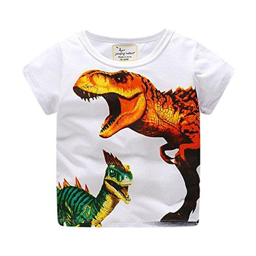 Hirolan Bekleidung Sommerkleid Babyshirt Kleinkind Kinder Jungen Kleider Kurzarm Dinosaurier Drucken Oberteile T-Shirt Bluse Unisex Baby T-Shirt (120, Orange)