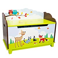 Fantasy Fields - Enchanted Woodland themed Kids Wooden Toy Chest Toy Box with Safety Hinges | Hand Crafted & Hand Painted Toybox Toy Storage Unit | Child Friendly Water-based Paint