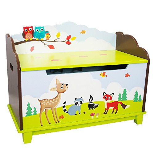 Fantasy Fields - Enchanted Woodland themed Kids Wooden Toy Chest Toy Box with Safety Hinges | Hand Crafted & Hand Painted Toybox Toy Storage Unit | Child Friendly Water-based Paint Best Price and Cheapest