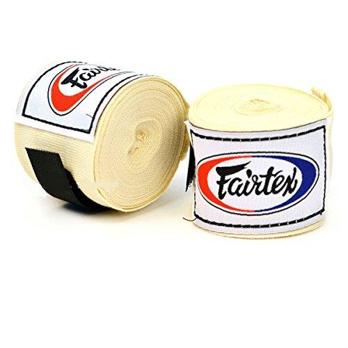 Boxen Thai Kostüm - Fairtex!! HW2 Premium Baumwolle Boxbandagen 4,5 m (Paar), HW2, cremefarben, Length 4.5m