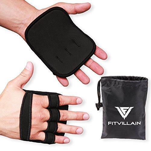 FITVILLAIN Grips d'haltérophilie en néoprène - protecteurs de paume - convient pour les tractions, l'haltérophilie, le développé-couché, les séances d'entrainement de gymnastique - Grips de gym élégants et fonctionnels avec coussinets pour les hommes et les femmes, des mains saines = des exercices plus longs (Noir)