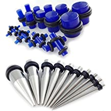 Gauge Gear® 28 Pc Ear Expander Kit Dilataciones de Acero Inoxidable y Azul Glow Plugs