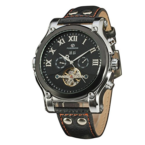 PIXNOR Mechanische Automatik Quarz-Armbanduhr Datumsanzeige Skelett Kunstleder Herren-Armbanduhr