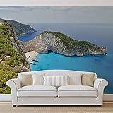 Griechenland Strand Felsen Meer - Wallsticker Warehouse - Fototapete - Tapete - Fotomural - Mural Wandbild - (3481WM) - XXL - 312cm x 219cm - VLIES (EasyInstall) - 3 Pieces