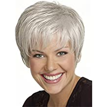 Royalfirst da donna corto Fluffy bianco argento ondulato sintetico parrucche a7b9611736e3