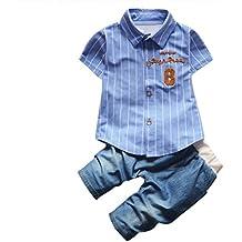 Vovotrade El niño embroma la ropa del equipo de los bebés fijada, Raya de la letra camisa + Demin vaquero Pantalones cortos,1-4 años